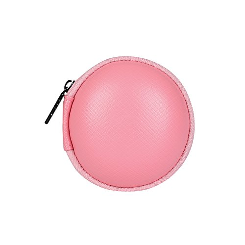 BUBM Round Hard Carrying Case Storage Bag for Earphone / Headphone / iPod / MP3, Pink
