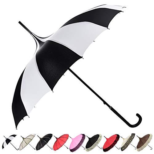 Outgeek Parasol Umbrella Sunshade Stick Umbrella Hook Handle Photo Props Black and White Striped