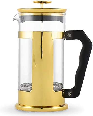 オフィスコーヒープレッサーティーポット コーヒーアプライアンスフレンチプレスポットセットハンドメイドコーヒーフィルターポットティーフィルターカップポットキッチンアプライアンス (色 : ゴールド, サイズ : 350ml)