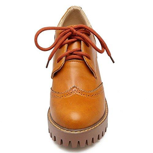 Brown Oxford RAZAMAZA Mujer Tacon Zapatos Yellow de para Ancho 8Tx4wT5Hq