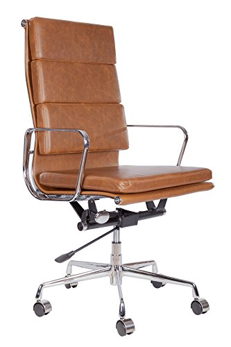 lazyBuddy Vintage Premium Caramel Brown PU Leather Soft Pad Executive Management Office Replica Chair Swivel and Polished Aluminium Frame - Pewter High Back