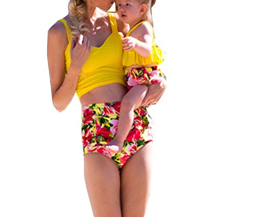 Mummy and Me Swimsuits,Mummy and Daughter Matching Bikini Set, Girls and Mom Bathing Suit (1-2 T, Yellow-Girls) for $<!--$1.99-->