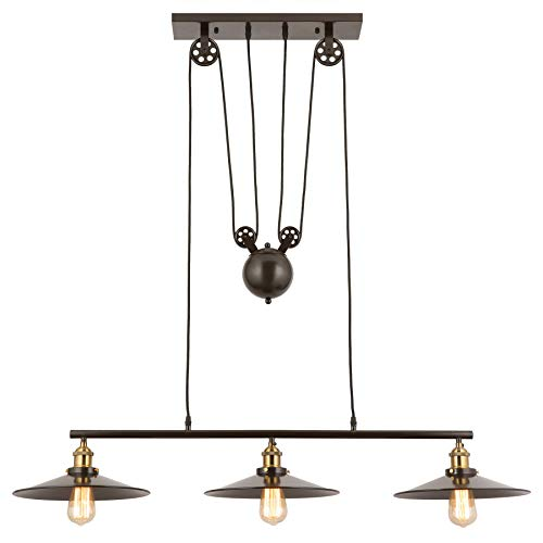 CO-Z Oil Rubbed Bronze 3 Light Linear Chandelier, Vintage Ceiling Lighting Fixture for Kitchen Island, Billiard Pool Table, Dining Table, Kitchen Bar, Pulley Pendant Kitchen Light with Metal Shades ()