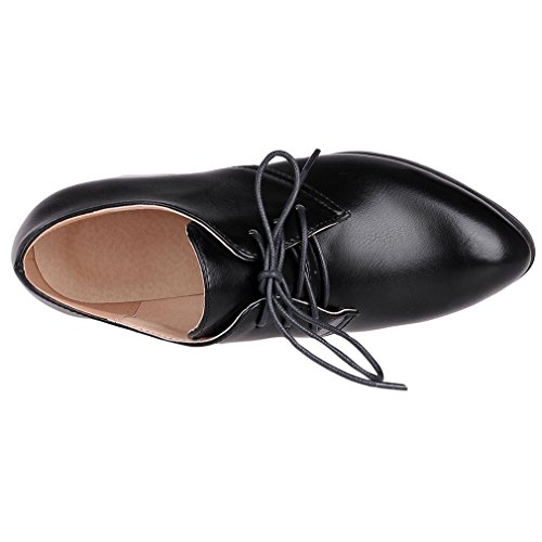 ENMAYER Womens PU Block Mid Heels Lace up Loafers Flats Office Lady Court Shoes Oxford Shoes Ankle Boots Black#228 GBEHC