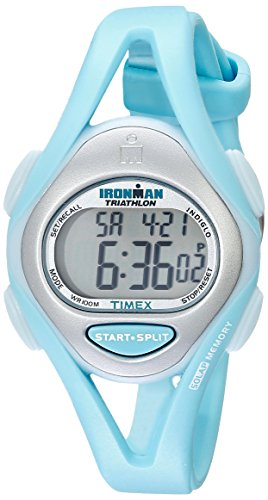 Timex Women's T5K701 Ironman Sleek 50 Mid-Size Mint Blue Resin Strap Watch