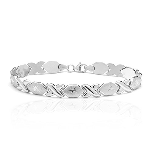 8 Inch 10k White Gold Stampato Xoxo X & O Hugs Kisses Chain Bracelet for Women and (Gold Womens Stampato Bracelet)