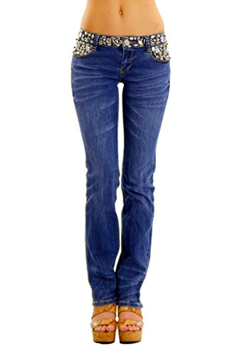 Women's Slim Fit Straight Leg Washed Denim Jeans