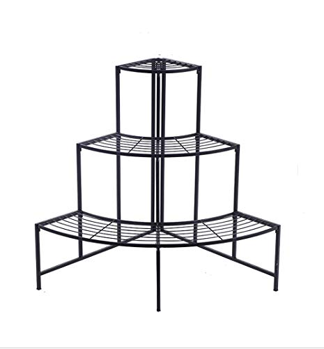 - TongN Multi-Layer Wrought Iron Fan-Shaped Disc Floor Stand Balcony Outdoor Indoor Pot Storage Shelf 76.3cmX87cm (Color : Black)