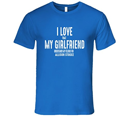 I Love My Girlfriend Allison Stokke Worn Look Funny Mens T Shirt 2Xl Royal Blue
