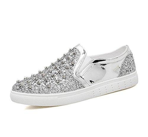 piedi Flats Scarpe Silver pelle Nightclub con Scarpe specchio Set in da Casual a Leopard uomo Lok barbiere Fu Moda uomo Scarpe WSK da Men's di p5qwUS