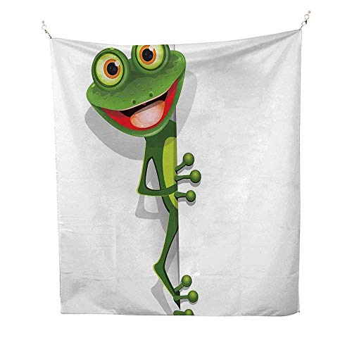CartoontapestryJolly Frog with Greater Eye Lizard Gecko Smily Childish Funny Cartoon Artwork 40W x 60L inch Wall tapestryFern Green White ()
