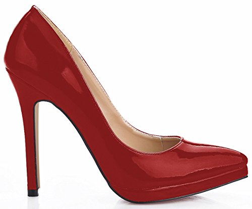 Click women fall model show at the point of the women's red varnished leather high-heel shoes The wine is red pPKOctjVN
