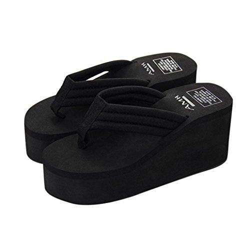 Pocciol Women Summer Slipsole Platform Shoes Wedges Sandals Slipper Beach Shoes 2018 Newly (Black, US:8.5)