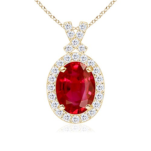 July Birthstone - Vintage Inspired Diamond Halo Oval Ruby Pendant Necklace for Women in 14K Yellow Gold (6x4mm - Pendant Aaa 14k Ruby Diamond