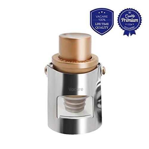 Vacare Champagne Stopper - Stainless Steel Tight Leak-Proof Lock Clip Bottle Sealer - Pumpable Pressure Type Fizz Preserver - Sparkling Wine Saver ()