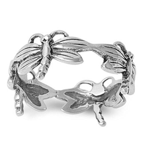 CloseoutWarehouse Sterling Silver All In Together Dragonfly Ring Size 8 (Sterling Silver Dragonfly Ring)