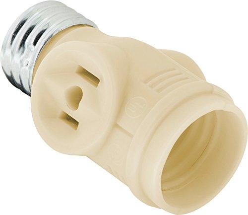 GE 50209 2-Outlet Polarized Light Socket Adapter, Ivory