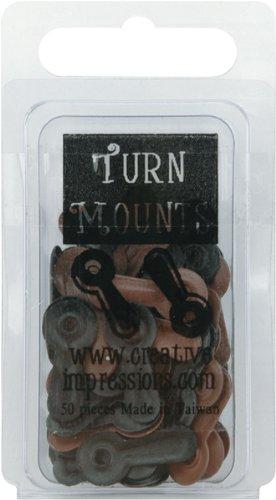 Painted Metal Turn Mounts 50/Pkg-Matte Black & Brown (Painted Mounts Metal Turn)
