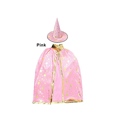 Children Costumes Stars Style for Halloween and Christmas Sorcerer/Halloween Cloak with Hat Pink