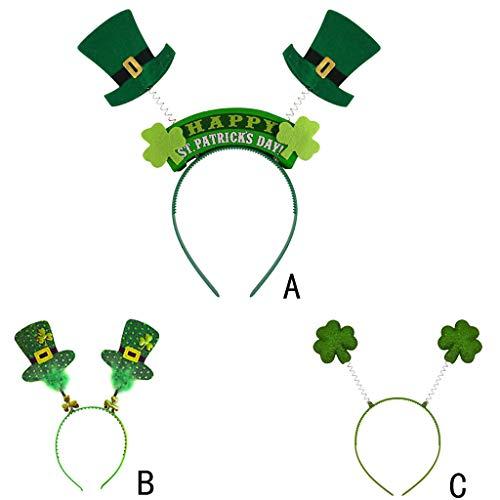 St. Patrick's Day Headband Hat Shamrock Green Irish Decorations Headband for Party Adults Teens Kids☘ (B) by Codiak-Decor (Image #1)