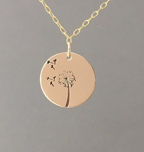 Gold Dandelion Circle Disc Necklace also in Rose Gold and Sterling Silver