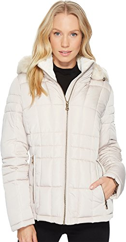 Calvin Klein Women's Puffer Short with Detachable Fur Trimmed Hood Barley Large by Calvin Klein