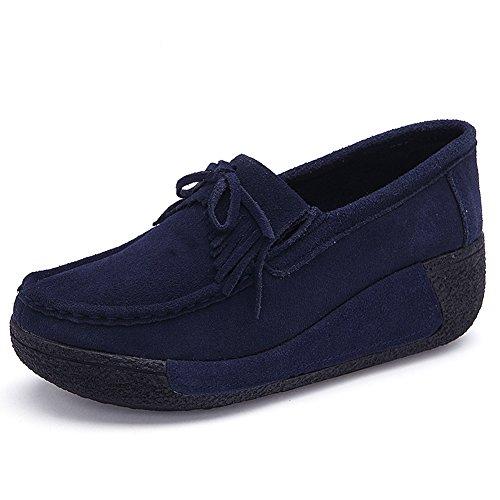 HKR Women Slip On Platform Loafers Suede Tassel Moccasins Wide Width Comfort Working Shoes Dark Blue