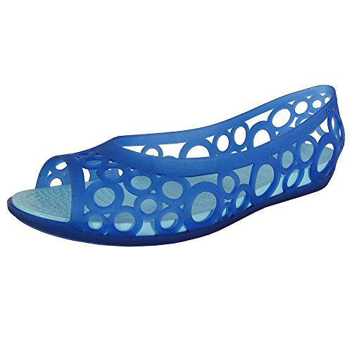 Crocs Womens Adrina Open Toe Slip On Flat Shoes, Cerulean Blue/Ice Blue, US 5 (Crocs Open Toe Wedge)