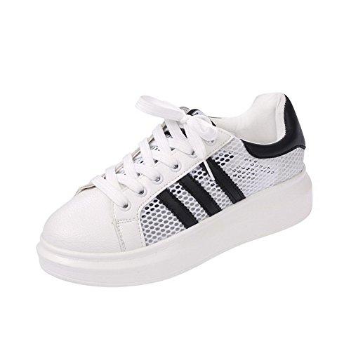 Pumps Schnüren Zehe Damen Gemischte Schuhe Weiß Rund Farbe Material Weiches AllhqFashion XS8qwHq