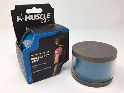 K-MUSCLE TAPE 5 STAR Coton Elastic Kinesiology 2 x 16.2-Inch (5cm x 5m) Uncut Strips Therapeutic Tape, Blue