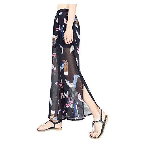 Estivi Pattern Grazioso Colour Eleganti Stampate Donna Strato Pantaloni Pantaloni Donna Pantaloni Spacco Chiffon Pantaloni Alta Pantaloni Lunga Accogliente Elastica Moda Giovane Vita Moda Dritti Doppio 5 Vita 7pwYcq