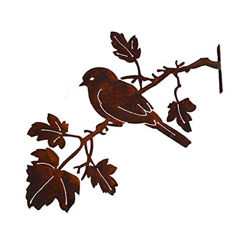 Elegant Garden Design Bluebird on Maple Branch, Steel Silhouette with Rusty Patina