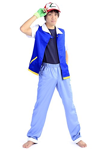 The League Of Shadows Costume (SDWKIT Pokemon Pocket Monsters Cosplay Costume Ash Katchum Satoshi Outfit Set V2)