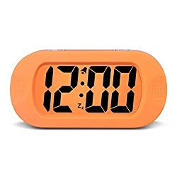 HENSE Large Digital Display Alarm Clock and Snooze/ Backlight Travel Alarm Clock and Home Bedside Alarm Clock,Battery operated,Shockproof HA30 (Orange)