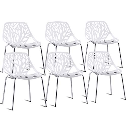 Giantex Set of 6 Dining Chair Birds Nest Modern Stackable Plastic Hollow-Out Geometric Style Furniture Outdoor Indoor Dining Side Chair (White)
