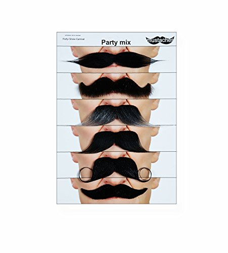 Mustaches Self Adhesive Fake Mustache Mix, Novelty, False Facial Hair Value Pack (6pcs.) -