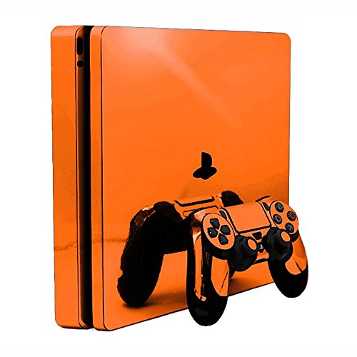 Sony PlayStation 4 Slim Skin (PS4S) - NEW - ORANGE CHROME MIRROR vinyl decal console mod kit by System Skins