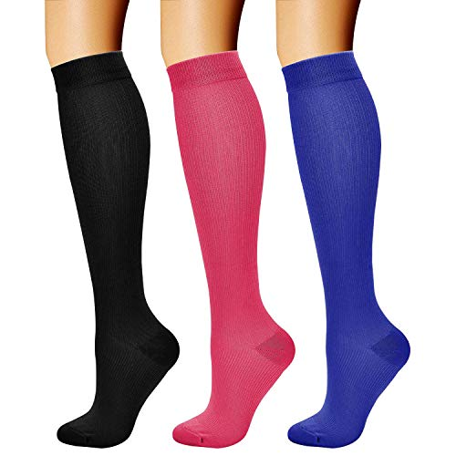 CHARMKING Compression Socks (3 Pairs) 15-20 mmHg is Best Athletic & Medical for Men & Women, Running, Flight, Travel, Nurses, Edema - Boost Performance, Blood Circulation & Recovery (L/XL,Assorted 06)