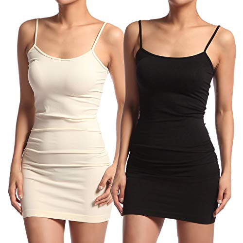 Stretch Mini Strap Sleeveless Spaghetti Dress Cami TheMogan Short black Ivory Bodycon Slip 2pack q86tBwS4