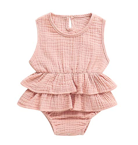 Faithtur Baby Girls Romper Dress Breathable Sleeveless Ruffle Bodysuit Summer Outfit Toddler Girl Clothes (3-6Months, Pink)