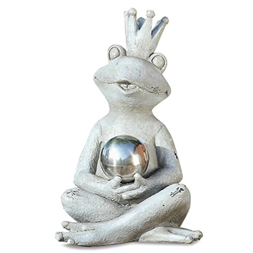 Yogi Frog Prince Garden Statue Holding Mirror Ball, Seated, Rustic Gray, Stone Textured Patina, Hand Cast Polyresin, 6.75 L x 4.25 W x 7 H Inches, Weather Resistant, Outdoor Figurine (Mirrors Ornamental)