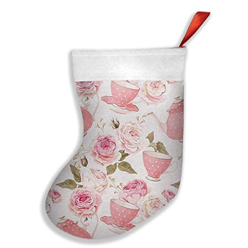 (HuaXuAgr Christmas Stockings Tea Cups with Roses Stocking with White Polyester Cuff)
