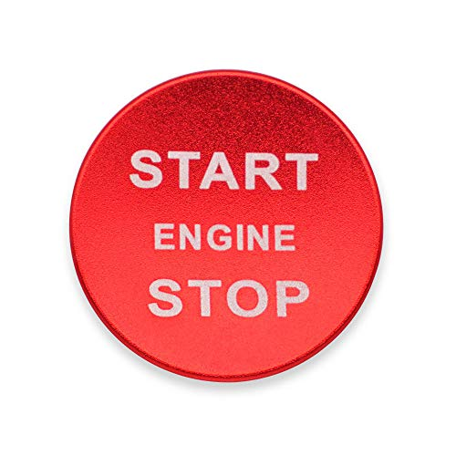 Ceyes Car Start Engine Stop Emblem Push Button Start Overlay Decal Car Ignition Start Button Cover Sticker for Land Rover Discovery Range Rover Velar Evoque Jaguar - Red Start Button Cover