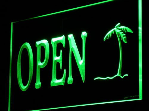 ADVPRO Cartel Luminoso i869-g Palm Tree Open Shop Bar Pub ...