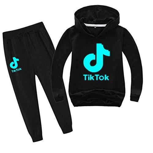 Kinderkleding jongens en meisjes lichtgevend fluorescerend patroon Tik Tok hoodie sweater + joggingbroek set