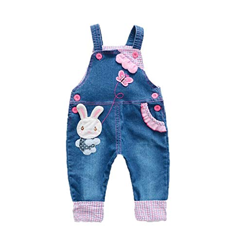 Baby Girls Cartoon Bunny Butterfly Print Denim Jumpsuit Bib Pants, Summer Toddler Infant Soft Casual Overall Jeans (Blue, 12-18 Months)