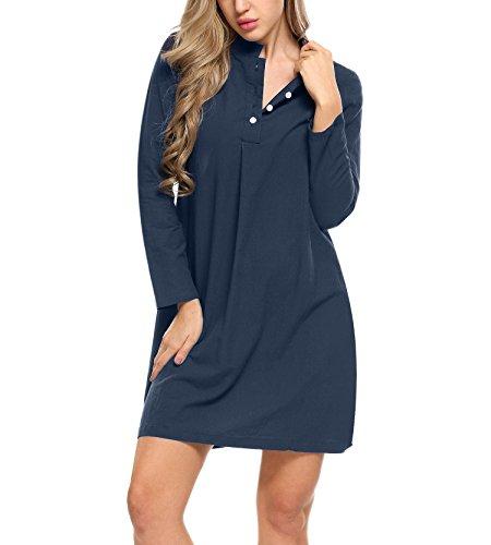 Goldenfox Womens Sexy Stand Neck Sleep Shirt Full Sleeve Pajama Top Button Down Sleepshirt Dress Sleepwear (Navy Blue, Small)