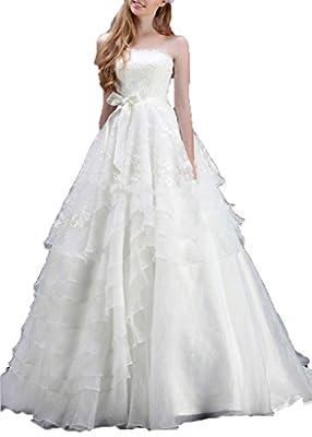 Women's Lace Sash Wedding Dresses Strapless Bridal Gowns