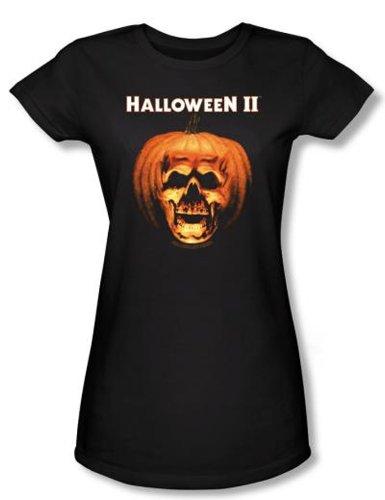 Halloween II Juniors T-shirt Movie Skull Pumpkin Shell Black Tee Shirt, (Halloween Laurie Strode)