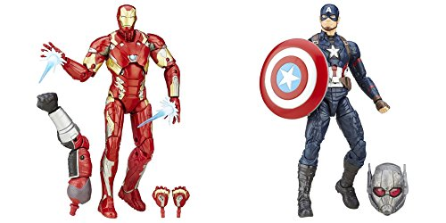 Super Hero Iron Man Mark 46 Figure vs Legends Series Captain America 6-Inch Hero Series Action Figures Toys, 2 Pack (Captain America Costume And Prime)